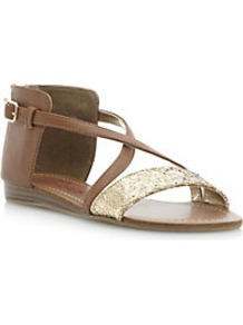 Joosy Back Zip Glitter Gladiator Sandal - predominant colour: tan; secondary colour: gold; occasions: casual, holiday; material: faux leather; heel height: flat; embellishment: glitter; heel: standard; toe: open toe/peeptoe; style: strappy; finish: plain; pattern: colourblock