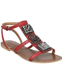 Jadarv Chain Detail T Bar Sandal - predominant colour: true red; secondary colour: silver; occasions: casual, holiday; material: faux leather; heel height: flat; ankle detail: ankle strap; heel: standard; toe: open toe/peeptoe; style: strappy; finish: plain; pattern: plain; embellishment: chain/metal