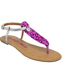 Janeyh Animal Print Toe Post Sandal - predominant colour: hot pink; secondary colour: silver; occasions: casual, holiday; material: leather; heel height: flat; ankle detail: ankle strap; heel: standard; toe: toe thongs; style: flip flops / toe post; finish: metallic; pattern: animal print; embellishment: chain/metal