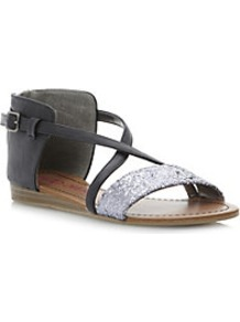 Joosy Back Zip Glitter Gladiator Sandal - secondary colour: silver; predominant colour: black; occasions: casual, holiday; material: faux leather; heel height: flat; embellishment: glitter; heel: standard; toe: open toe/peeptoe; style: gladiators; finish: plain; pattern: colourblock