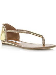 Reader Metal Plate Detail Toe Post Sandal - predominant colour: camel; secondary colour: gold; occasions: casual, evening, holiday; material: fabric; heel height: flat; heel: standard; toe: toe thongs; style: flip flops / toe post; finish: plain; pattern: patterned/print; embellishment: chain/metal