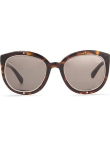 Tortoiseshell Round Frame Sunglasses - predominant colour: chocolate brown; secondary colour: tan; occasions: casual, holiday; style: cateye; size: large; material: plastic/rubber; pattern: tortoiseshell; finish: plain