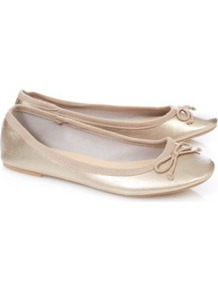 Metallic Ballet Shoes Silver - predominant colour: champagne; occasions: casual, holiday; material: faux leather; heel height: flat; toe: round toe; style: ballerinas / pumps; trends: metallics; finish: metallic; pattern: plain; embellishment: bow