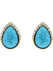 Turquoise Stone Teardrop Earrings, Turquoise - predominant colour: turquoise; secondary colour: gold; occasions: casual, evening, work, occasion; style: stud; length: short; size: standard; material: chain/metal; fastening: pierced; finish: plain; embellishment: jewels