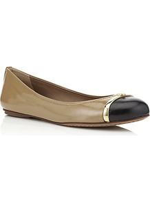 Pacey Flat - predominant colour: camel; secondary colour: black; occasions: casual; material: leather; heel height: flat; toe: round toe; style: ballerinas / pumps; finish: patent; pattern: colourblock; embellishment: toe cap