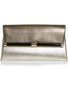440 Envelope Clutch - predominant colour: gold; occasions: evening, occasion; type of pattern: standard; style: clutch; length: hand carry; size: standard; material: leather; pattern: plain; trends: metallics; finish: metallic