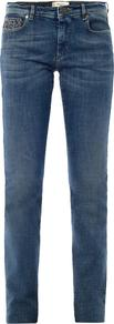 Kibbutz Jeans - style: straight leg; length: standard; pattern: plain; pocket detail: traditional 5 pocket; waist: mid/regular rise; predominant colour: denim; occasions: casual, evening, holiday; fibres: cotton - stretch; jeans detail: whiskering, dark wash; texture group: denim; pattern type: fabric