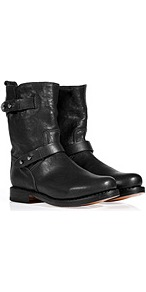 Leather Moto Boots In Black - secondary colour: silver; predominant colour: black; occasions: casual, work; material: leather; heel height: flat; embellishment: buckles; heel: standard; toe: round toe; boot length: ankle boot; style: biker boot; finish: plain; pattern: plain