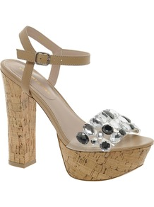 Kg Nala Leather Cork Platform Sandals - predominant colour: stone; secondary colour: black; occasions: evening, occasion, holiday; material: leather; embellishment: jewels; ankle detail: ankle strap; heel: platform; toe: open toe/peeptoe; style: standard; finish: plain; pattern: plain; heel height: very high