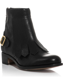 Vrony Leather Ankle Boots - predominant colour: black; occasions: casual; material: leather; heel height: mid; embellishment: buckles; heel: block; toe: round toe; boot length: ankle boot; style: standard; finish: plain; pattern: plain