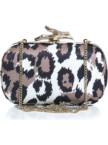 Lytton Box Clutch - secondary colour: white; predominant colour: taupe; occasions: evening, occasion; type of pattern: standard; style: clutch; length: hand carry; size: mini; material: satin; pattern: animal print; trends: statement prints; finish: plain; embellishment: chain/metal