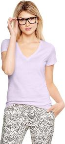 Essential Short Sleeve V Neck T - neckline: v-neck; pattern: plain; style: t-shirt; predominant colour: lilac; occasions: casual; length: standard; fibres: cotton - 100%; fit: body skimming; sleeve length: short sleeve; sleeve style: standard; texture group: cotton feel fabrics