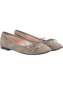 Studded Suede Ballerina Pumps, Taupe - predominant colour: taupe; secondary colour: silver; occasions: casual, work, holiday; material: suede; heel height: flat; embellishment: studs; toe: round toe; style: ballerinas / pumps; finish: plain; pattern: plain