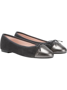 Contrast Toe Leather Ballet Pumps, Grey - predominant colour: charcoal; secondary colour: mid grey; occasions: casual, work, holiday; material: leather; heel height: flat; toe: pointed toe; style: ballerinas / pumps; trends: metallics; finish: plain; pattern: plain; embellishment: toe cap
