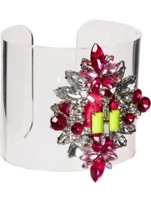 Jewel Perspex Cuff Bracelet - secondary colour: hot pink; occasions: evening, occasion, holiday; style: cuff; size: large/oversized; material: plastic/rubber; finish: plain; embellishment: jewels; predominant colour: clear