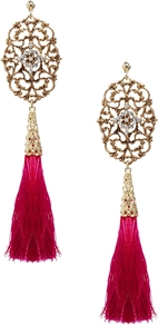 Limited Edition Filigree Tassel Earrings - predominant colour: hot pink; secondary colour: gold; occasions: evening, occasion, holiday; style: drop; length: extra long; size: large/oversized; material: chain/metal; fastening: pierced; finish: plain; embellishment: tassels