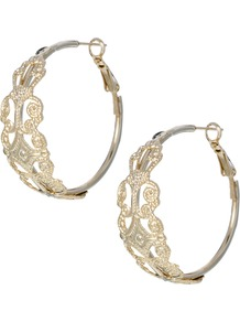 Limited Edition Filigree Hoop Earrings - predominant colour: gold; occasions: casual, evening, holiday; style: hoop; length: long; size: large/oversized; material: chain/metal; fastening: pierced; finish: plain; embellishment: chain/metal