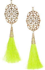 Limited Edition Filigree Tassel Earrings - predominant colour: primrose yellow; secondary colour: gold; occasions: evening, occasion, holiday; style: drop; length: extra long; size: large/oversized; material: chain/metal; fastening: pierced; trends: fluorescent; finish: plain; embellishment: tassels