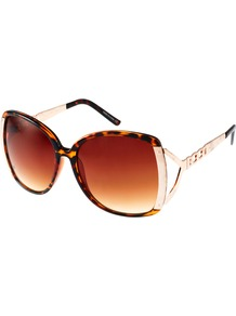 Tortoishell Oversized Sunglasses - predominant colour: tan; secondary colour: gold; occasions: casual, holiday; style: square; size: large; material: chain/metal; pattern: tortoiseshell; finish: plain