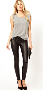 Leather Look Leggings - length: standard; pattern: plain; style: leggings; waist: mid/regular rise; predominant colour: black; occasions: casual, evening; fibres: polyester/polyamide - stretch; texture group: leather; fit: skinny/tight leg; pattern type: fabric