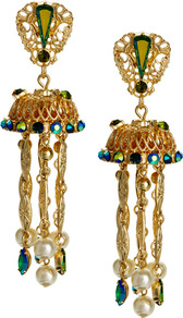 Jewel Jellyfish Earring - secondary colour: diva blue; predominant colour: gold; occasions: evening, occasion, holiday; style: chandelier; length: long; size: large/oversized; material: chain/metal; fastening: pierced; finish: plain; embellishment: jewels