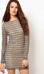 Jumper Dress - style: shift; length: mid thigh; pattern: plain; predominant colour: charcoal; occasions: casual; fit: body skimming; fibres: polyester/polyamide - mix; neckline: crew; sleeve length: long sleeve; sleeve style: standard; texture group: knits/crochet; pattern size: standard