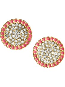 Embellished Stud Earrings - predominant colour: bright orange; occasions: casual, evening, work, occasion, holiday; style: stud; length: short; size: small; material: chain/metal; fastening: pierced; finish: plain; embellishment: jewels; secondary colour: clear