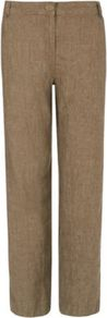 Moda Wide Leg Linen Trousers Tobacco - length: standard; pattern: plain; waist: mid/regular rise; predominant colour: chocolate brown; occasions: casual; fibres: linen - 100%; texture group: linen; fit: wide leg; pattern type: fabric; style: standard