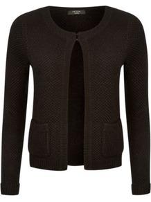 Moda Lurex Cardigan Black - pattern: plain; neckline: collarless open; style: open front; predominant colour: black; occasions: casual; length: standard; fibres: acrylic - mix; fit: standard fit; sleeve length: long sleeve; sleeve style: standard; texture group: knits/crochet; pattern type: knitted - other