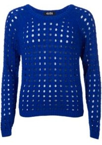 G21 Open Knit Jumper Blue - neckline: round neck; pattern: plain; style: standard; predominant colour: royal blue; occasions: casual; length: standard; fibres: acrylic - mix; fit: slim fit; sleeve length: long sleeve; sleeve style: standard; texture group: knits/crochet; pattern type: knitted - big stitch