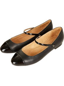 Mayleen Dolly Shoes - predominant colour: black; secondary colour: black; occasions: casual, evening, work; material: leather; heel height: mid; ankle detail: ankle strap; heel: block; toe: round toe; style: mary janes; finish: plain; pattern: plain; embellishment: toe cap