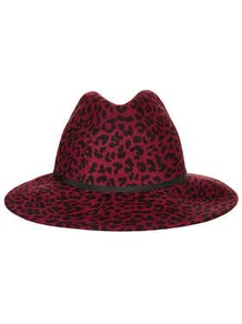 Leopard Fedora Hat - predominant colour: hot pink; secondary colour: black; occasions: casual, evening, work, occasion; type of pattern: standard; style: fedora; size: standard; material: felt; embellishment: ribbon; pattern: animal print; trends: statement prints