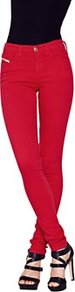 Skinzee Skinny Jeans Red, Red - style: skinny leg; length: standard; pattern: plain; pocket detail: traditional 5 pocket; waist: mid/regular rise; predominant colour: true red; occasions: casual, evening, holiday; fibres: cotton - stretch; texture group: denim; pattern type: fabric