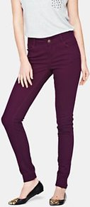 Coloured Supersoft Skinny Jeans Mulberry - style: skinny leg; length: standard; pattern: plain; pocket detail: traditional 5 pocket; waist: mid/regular rise; predominant colour: aubergine; occasions: casual, evening, holiday; fibres: cotton - stretch; texture group: denim; pattern type: fabric; pattern size: standard