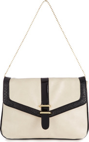 Cream And Black Shoulder Bag - predominant colour: ivory; secondary colour: black; occasions: casual, evening, work; type of pattern: light; style: shoulder; length: shoulder (tucks under arm); size: small; material: faux leather; finish: plain; pattern: colourblock; embellishment: chain/metal