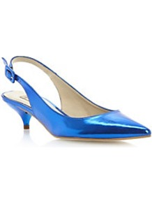 Davinia Pointed Toe Mirrored Slingback Court Shoe - predominant colour: diva blue; occasions: evening, occasion; material: faux leather; heel height: mid; heel: kitten; toe: pointed toe; style: slingbacks; trends: metallics; finish: metallic; pattern: plain