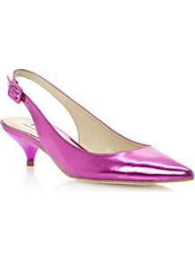 Davinia Pointed Toe Mirrored Slingback Court Shoe - predominant colour: hot pink; occasions: evening, occasion; material: faux leather; heel height: mid; heel: kitten; toe: pointed toe; style: slingbacks; trends: metallics; finish: metallic; pattern: plain