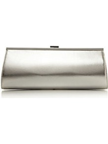 Betallic Metallic Clutch Bag - predominant colour: silver; secondary colour: silver; occasions: evening, occasion; type of pattern: standard; style: clutch; length: hand carry; size: small; material: faux leather; pattern: plain; trends: metallics; finish: metallic; embellishment: snaffles