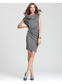 Asymmetric Drape Waist Dress - neckline: cowl/draped neck; fit: tailored/fitted; pattern: plain; style: asymmetric (top); sleeve style: asymmetric sleeve; waist detail: twist front waist detail/nipped in at waist on one side/soft pleats/draping/ruching/gathering waist detail; bust detail: ruching/gathering/draping/layers/pintuck pleats at bust; predominant colour: mid grey; occasions: evening, work; length: just above the knee; fibres: wool - 100%; hip detail: ruching/gathering at hip; sleeve length: sleeveless; trends: pure tailoring; pattern type: fabric; pattern size: standard; texture group: woven bulky/heavy