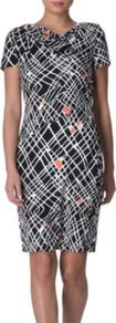 New Julian Two Dress - style: shift; neckline: cowl/draped neck; pattern: heavily patterned, print, patterned/print; waist detail: fitted waist; predominant colour: black; occasions: evening, work; length: just above the knee; fit: body skimming; fibres: silk - 100%; sleeve length: short sleeve; sleeve style: standard; trends: monochrome, a/w prints; pattern type: fabric; pattern size: big &amp; busy; texture group: jersey - stretchy/drapey