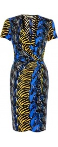 Zebra Print Short Sleeve Viscose Jersey Wrap Dress - style: faux wrap/wrap; neckline: low v-neck; fit: tailored/fitted; pattern: print, patterned/print; waist detail: fitted waist, twist front waist detail/nipped in at waist on one side/soft pleats/draping/ruching/gathering waist detail; predominant colour: royal blue; occasions: casual, evening, occasion; length: just above the knee; fibres: polyester/polyamide - 100%; sleeve length: short sleeve; sleeve style: standard; trends: a/w prints; pattern type: fabric; pattern size: standard; texture group: jersey - stretchy/drapey