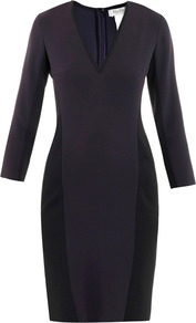 Festa Dress - style: shift; length: mid thigh; neckline: v-neck; fit: tailored/fitted; pattern: plain; waist detail: fitted waist; predominant colour: black; occasions: evening, work; fibres: polyester/polyamide - 100%; sleeve length: 3/4 length; sleeve style: standard; trends: deep tones, waist-cinchers, pure tailoring; pattern type: fabric; pattern size: standard; texture group: jersey - stretchy/drapey