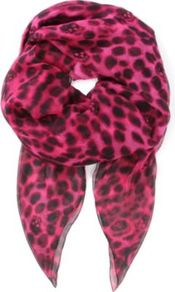 Leopard Skull Silk Chiffon Scarf - predominant colour: hot pink; occasions: casual, work; type of pattern: standard; style: square; size: standard; material: silk; pattern: animal print