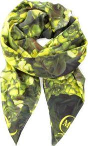 Neon Petal Print Silk Scarf - predominant colour: lime; occasions: casual, work; type of pattern: heavy; style: square; size: standard; material: silk; pattern: florals; trends: fluorescent