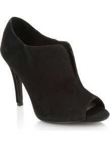 Black Suede High Heel Peep Toe Shoe Boots - predominant colour: black; occasions: evening, work; material: suede; heel height: high; heel: stiletto; toe: open toe/peeptoe; boot length: shoe boot; style: standard; finish: plain; pattern: plain