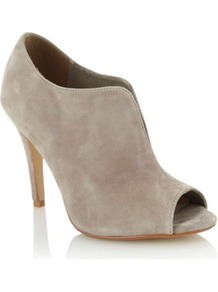 Light Grey Suede High Heel Peep Toe Shoe Boots - predominant colour: stone; occasions: casual, evening, work; material: suede; heel height: high; heel: stiletto; toe: open toe/peeptoe; boot length: shoe boot; style: standard; finish: plain; pattern: plain