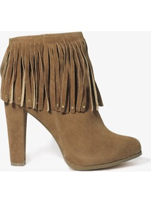 Studded Fringe Booties - predominant colour: camel; occasions: casual, evening; material: faux leather; heel height: high; heel: block; toe: round toe; boot length: ankle boot; style: standard; finish: plain; pattern: plain; embellishment: fringing