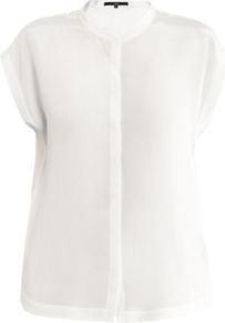 Silk Blouse - sleeve style: capped; pattern: plain; style: blouse; predominant colour: white; occasions: casual, work; length: standard; neckline: collarstand; fibres: silk - 100%; fit: loose; sleeve length: short sleeve; texture group: silky - light; pattern type: fabric