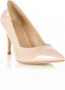 Paddy Pointed Court, Pink - predominant colour: blush; occasions: evening, work, occasion; material: faux leather; heel height: high; heel: stiletto; toe: pointed toe; style: courts; finish: patent; pattern: plain