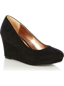 Wedge Shoe, Black - predominant colour: black; occasions: casual, evening, work, occasion; material: faux leather; heel height: high; heel: wedge; toe: round toe; style: courts; finish: plain; pattern: plain